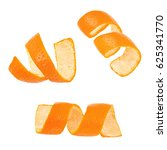 Small photo of Set of curl mandarin peel isolated on white background