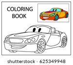 funny smile cartoon car.... | Shutterstock .eps vector #625349948