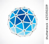 3d digital wireframe spherical... | Shutterstock . vector #625350209