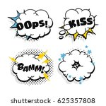 set of pop art explosion and... | Shutterstock .eps vector #625357808