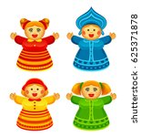 funny doll in national russian... | Shutterstock .eps vector #625371878