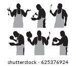 set of vector silhouettes of a... | Shutterstock .eps vector #625376924