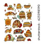 funny turtles collection ... | Shutterstock .eps vector #625398590