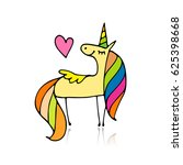 magic unicorn  sketch for your... | Shutterstock .eps vector #625398668