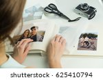 looking at family wedding photo ... | Shutterstock . vector #625410794