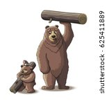 brown bear and cub bear carry... | Shutterstock .eps vector #625411889