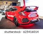 Small photo of Poznan, Poland, April 06-09, 2017: MOTOR SHOW, International Car Fair: Honda Civic Type R - shiny modern auto