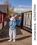 Small photo of Hesketh Bank, Tarleton, Southport, Lancashire, UK. 17th April 2017. Character in Easter Bunny costume greeting at West Lancashire Light Railway, Hesketh Bank, Tarleton, Southport, UK