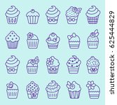 cupcake icon set | Shutterstock .eps vector #625444829