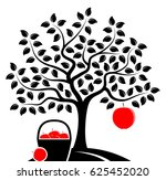 vector apple tree with one big...   Shutterstock .eps vector #625452020