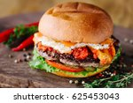 Burger With Beef  Egg  Tomato ...