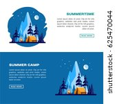 summer camp. night landscape... | Shutterstock .eps vector #625470044