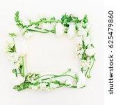 frame of white ranunculus ... | Shutterstock . vector #625479860