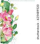pink lotus border. watercolor... | Shutterstock . vector #625489520