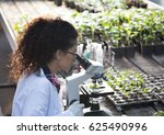 young biologist looking at... | Shutterstock . vector #625490996