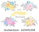 set of hand drawn flower... | Shutterstock .eps vector #625492358