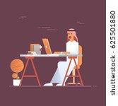 arab business man using laptop... | Shutterstock .eps vector #625501880