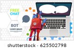 chat bot hands using laptop... | Shutterstock .eps vector #625502798