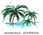 watercolor palm beach. | Shutterstock . vector #625504316