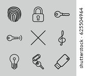 key icons set. set of 9 key... | Shutterstock .eps vector #625504964