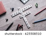 croosword made of game cubes... | Shutterstock . vector #625508510