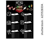 sukiyaki shabu objects menu  | Shutterstock .eps vector #625528334