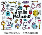 health care and medicine doodle ... | Shutterstock .eps vector #625530188
