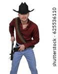 handsome cowboy man with six... | Shutterstock . vector #625536110