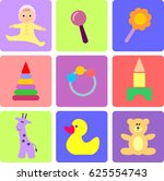 set of flat vector icons with... | Shutterstock .eps vector #625554743