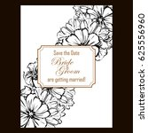 invitation with floral... | Shutterstock . vector #625556960