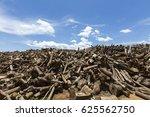 big heap of chopped tree trunks ... | Shutterstock . vector #625562750