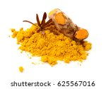pile of turmeric powder with... | Shutterstock . vector #625567016