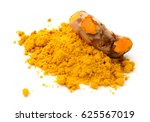 turmeric and turmeric powder on ... | Shutterstock . vector #625567019
