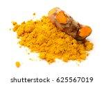 turmeric and turmeric powder on ... | Shutterstock . vector #625567019