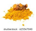 turmeric powder and turmeric... | Shutterstock . vector #625567040