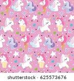 pattern unicorn pony ice cream... | Shutterstock .eps vector #625573676