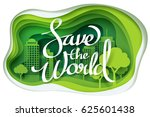 paper art of save the world... | Shutterstock .eps vector #625601438