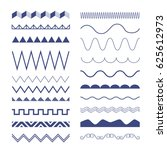 seamless zig zag and wave lines.... | Shutterstock .eps vector #625612973