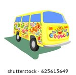 abstract yellow mini van... | Shutterstock . vector #625615649