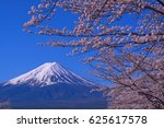 mount fuji and cherry blossoms... | Shutterstock . vector #625617578