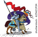 brave horse knight with a spear ... | Shutterstock .eps vector #625621934
