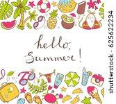 cute doodle horizontal...   Shutterstock . vector #625622234