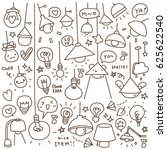 set of cute vintage bulb doodle.... | Shutterstock .eps vector #625622540