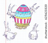 handdrawn  happy easter set...   Shutterstock . vector #625623320