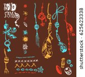 hand drawn  collection of boho...   Shutterstock . vector #625623338