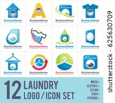 laundry dry cleaning wash logo... | Shutterstock .eps vector #625630709