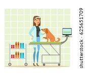 cheerful veterinary doctor... | Shutterstock .eps vector #625651709