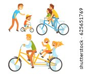 father riding his children on a ... | Shutterstock .eps vector #625651769