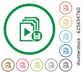 save playlist flat color icons... | Shutterstock .eps vector #625654760