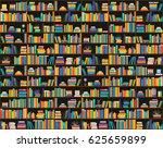 books on shelves  seamless... | Shutterstock .eps vector #625659899